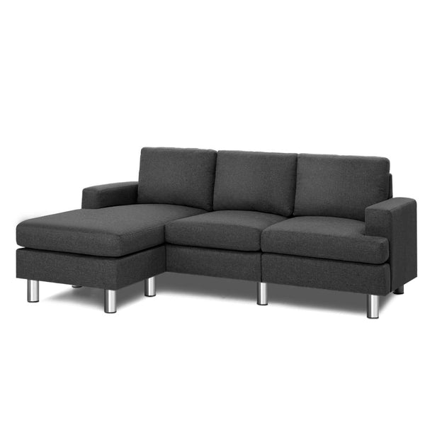 Artiss 4 Seat Sofa with Chaise - Dark Grey - Factory Direct Oz
