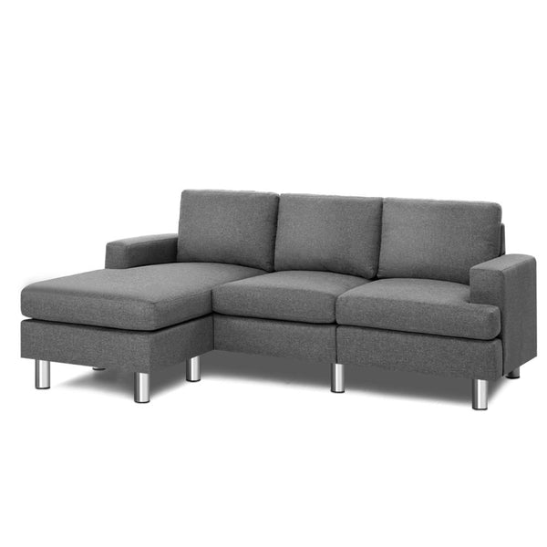 Artiss 4 Seat Sofa with Chaise - Grey - Factory Direct Oz