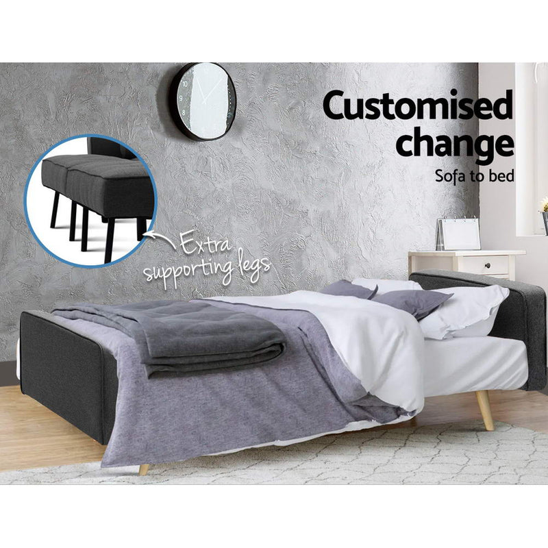 Artiss 3 Seater Sofa Bed - Dark Grey - Factory Direct Oz