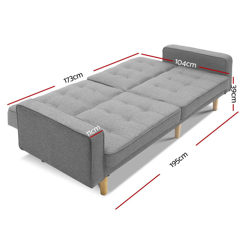 Artiss 3 Seater Sofa Bed - Grey - Factory Direct Oz