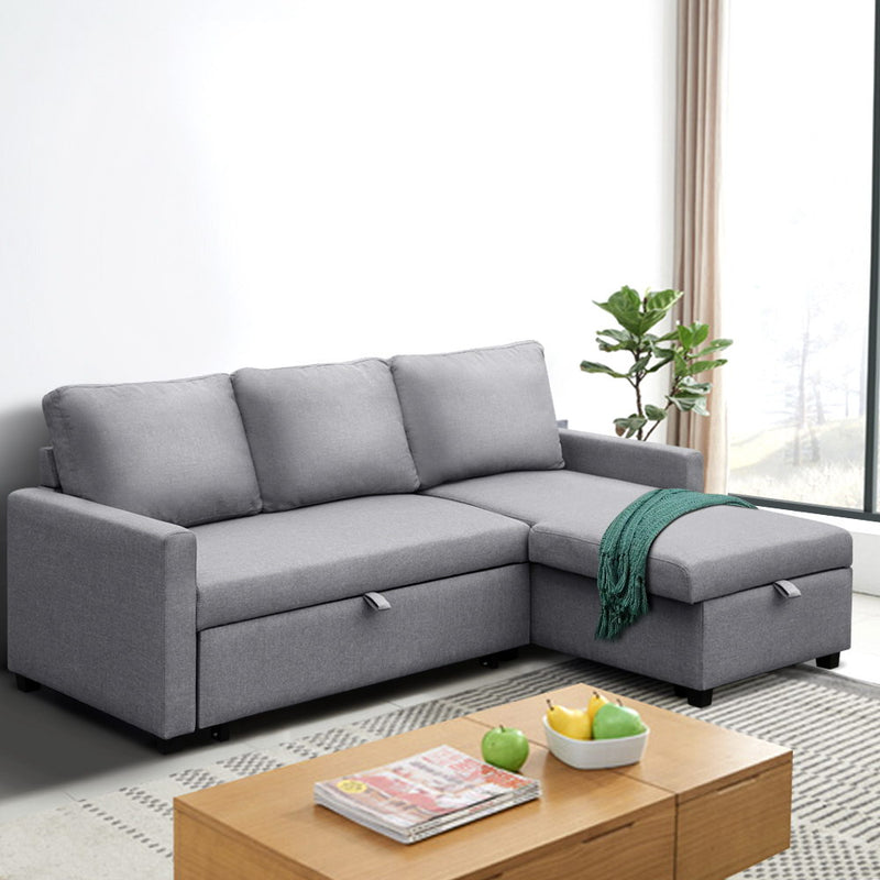 Artiss 3 Seater Fabric Sofa Bed with Storage  - Grey - Factory Direct Oz