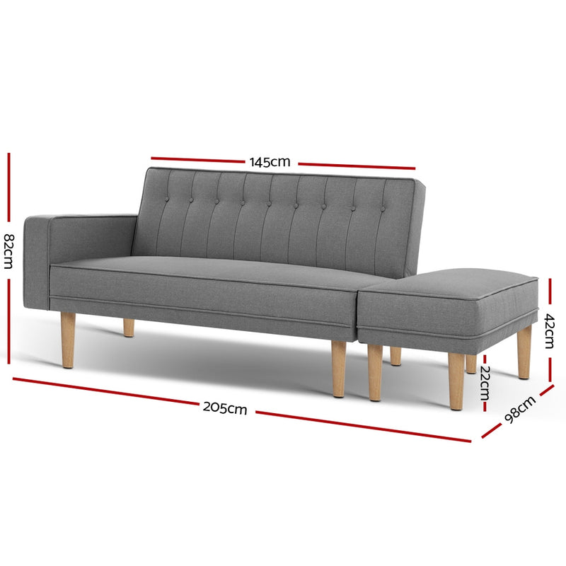 Artiss 3 Seater Scandinavian Sofa Bed w/ Ottoman - Grey - Factory Direct Oz
