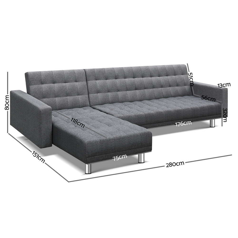 Artiss Modular Fabric Sofa Bed - Grey - Factory Direct Oz