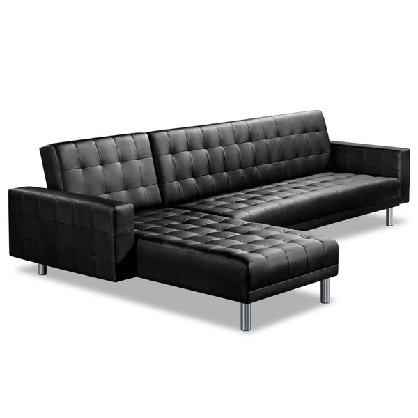 Artiss Modular PU Leather Sofa Bed - Black - Factory Direct Oz