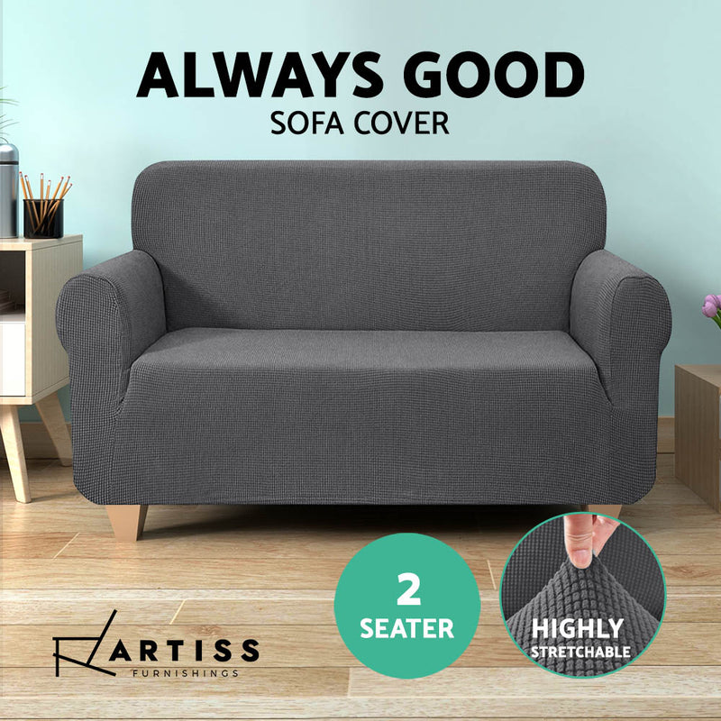 Artiss 2 Seater High Stretch Sofa Cover - Grey - Factory Direct Oz