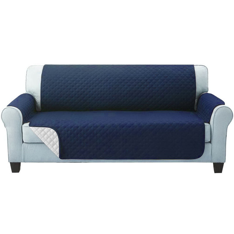 Artiss 3 Seater Quilted Sofa Cover - Navy - Factory Direct Oz