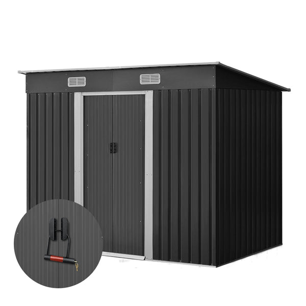 Giantz 2.38 x 1.31m Steel Garden Shed - Grey - Factory Direct Oz