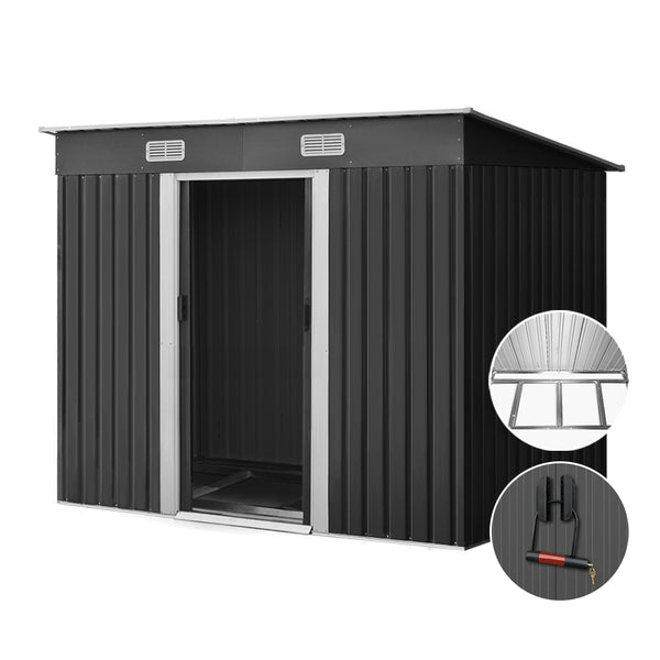 Giantz 2.38 x 1.31m Steel Base Garden Shed - Grey - Factory Direct Oz