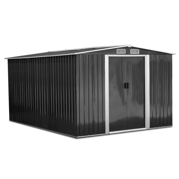 Giantz 2.57 x 3.12m Garden Shed with Roof - Grey - Factory Direct Oz