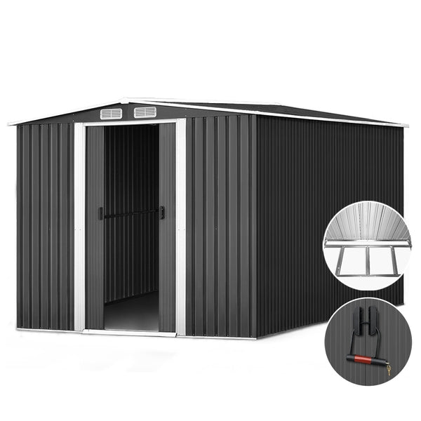 Giantz 2.02 x 3.2m Metal Shed - Grey - Factory Direct Oz