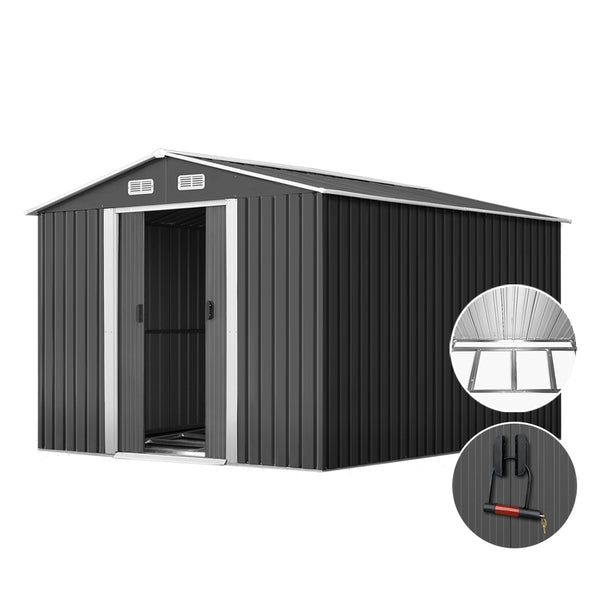 Giantz 2.02 x 3.89m Metal Shed - Grey - Factory Direct Oz