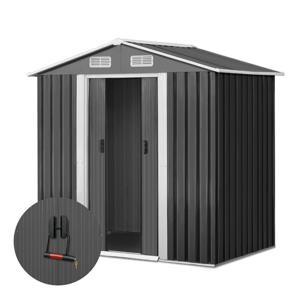 Giantz 1.25 x 1.95m Steel Garden Shed - Grey - Factory Direct Oz