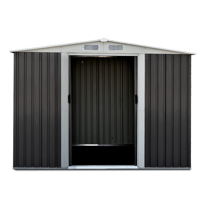 Giantz 2.05 x 2.57m Steel Garden Shed with Roof - Grey - Factory Direct Oz