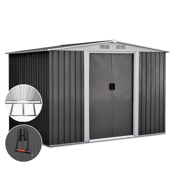 Giantz 2.05 x 2.57m Steel Base Garden Shed - Grey - Factory Direct Oz