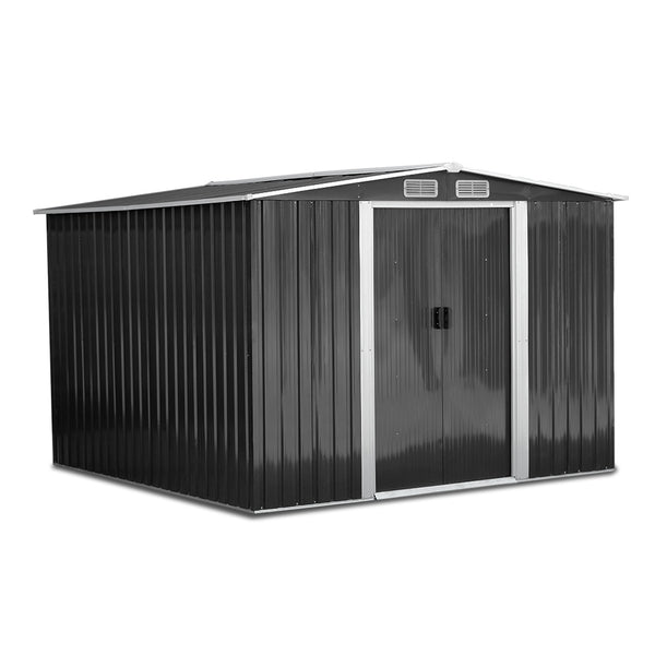 Giantz 2.57 x 2.57m Steel Base Garden Shed - Grey - Factory Direct Oz