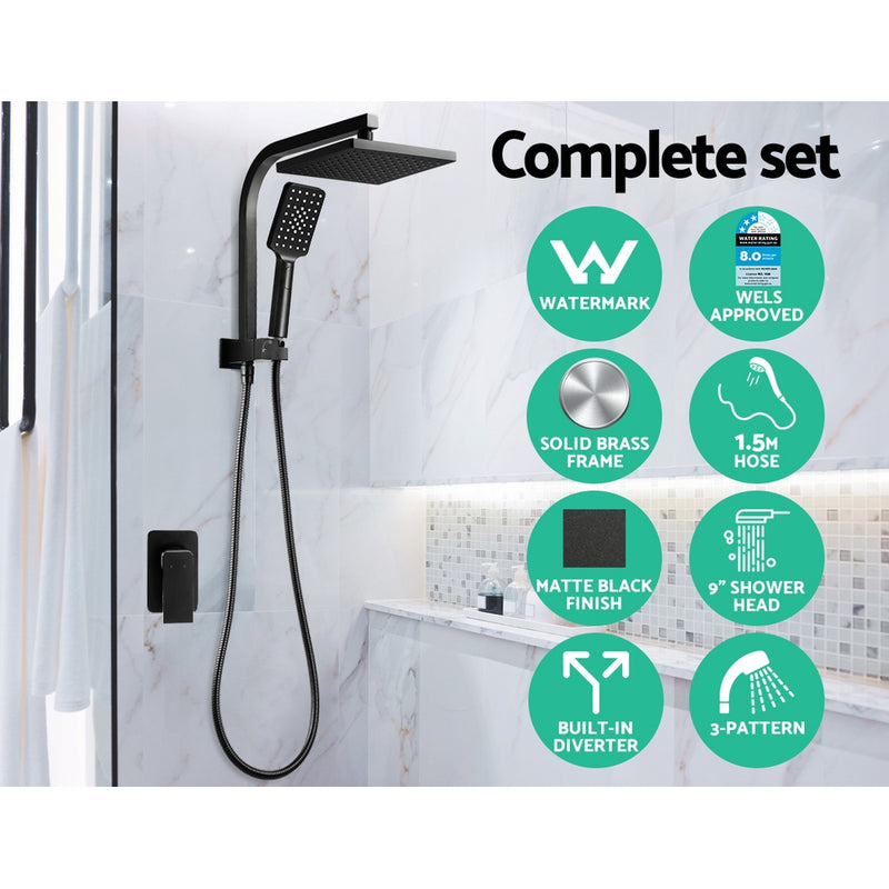 WELS 8 inch Square Rain Shower Head & Mixer Set w/ Handheld Spray - Mat Black - Factory Direct Oz