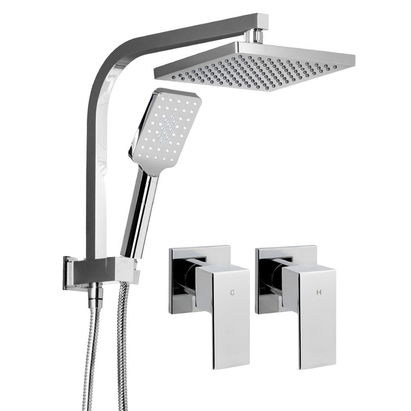 "WELS 8"" Square Rain Shower Head and Taps w/ Handheld Spray - Chrome - Factory Direct Oz"