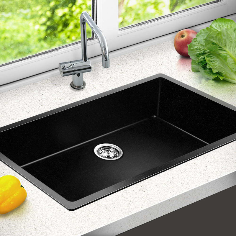 Cefito 790 x 450mm Granite Stone Sink - Black - Factory Direct Oz