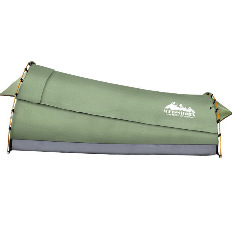 Weisshorn Deluxe Single Swag - Celadon With Mattress - Factory Direct Oz