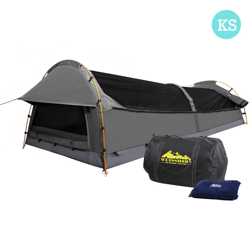King Single Canvas Swag with Air Pillow - Grey - Factory Direct Oz