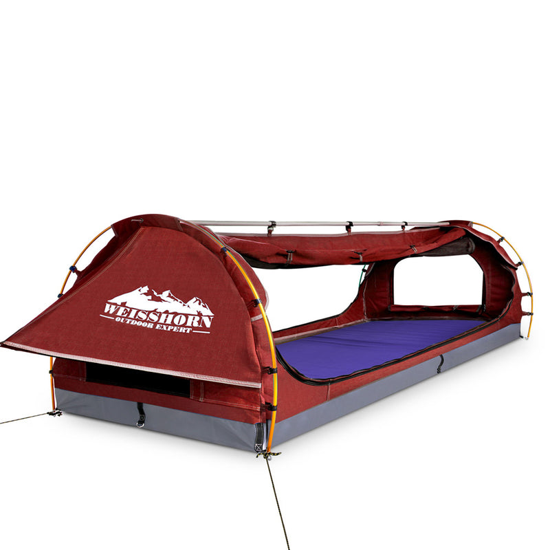 Double Canvas Swag with Side Awning & Air Pillow - Red - Factory Direct Oz