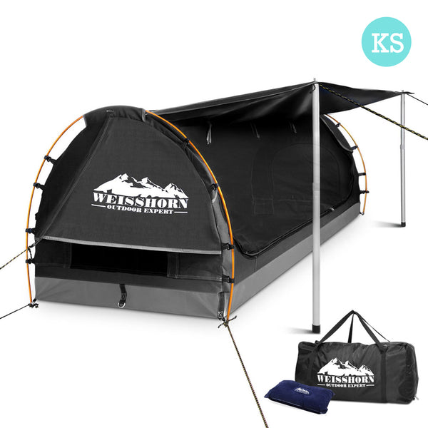 King Single Canvas Swag with Side Awning - Dark Grey - Factory Direct Oz
