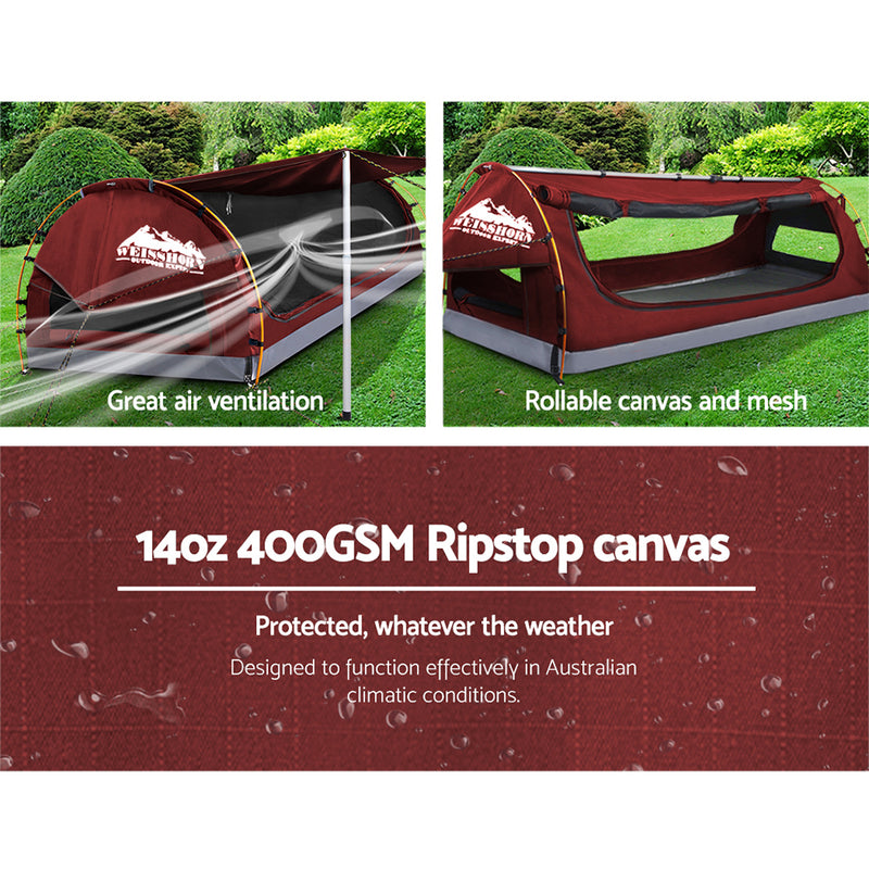 King Single Canvas Swag with Mattress - Red - Factory Direct Oz