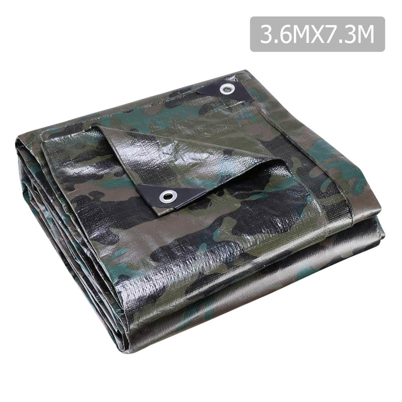 Instahut 3.6x7.3m Camouflage Heavy Duty Tarp - Factory Direct Oz