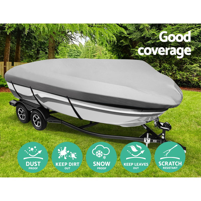 12 - 14 Foot Waterproof Boat Cover - Grey - Factory Direct Oz