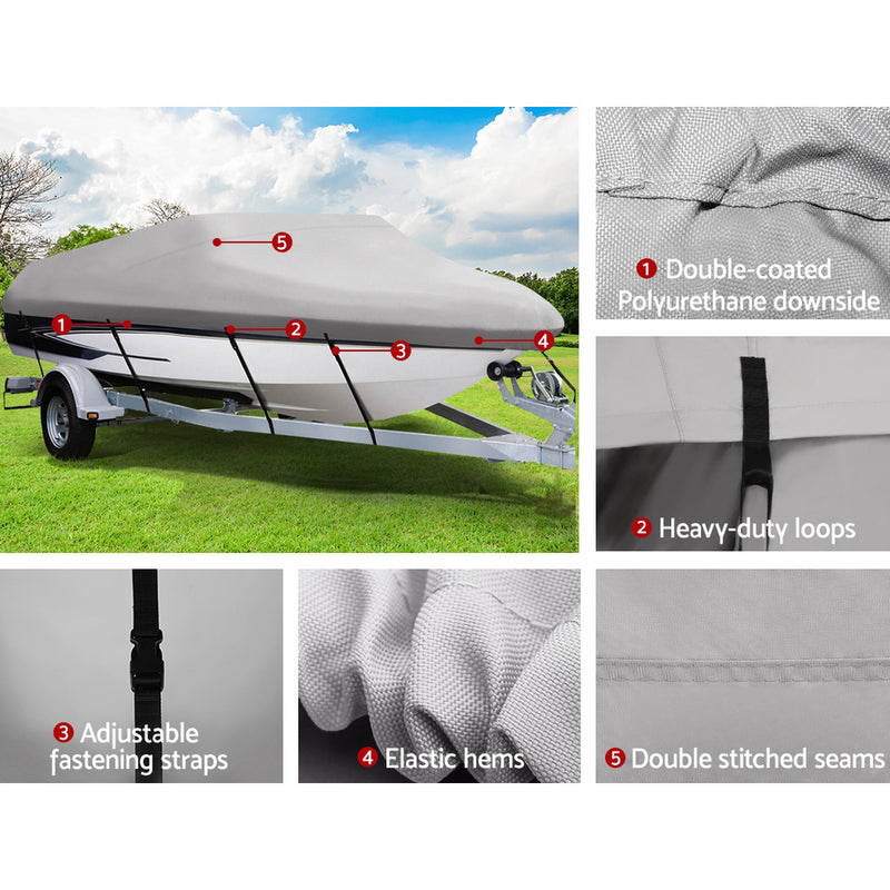 16 - 18.5 Foot Waterproof Boat Cover - Grey - Factory Direct Oz