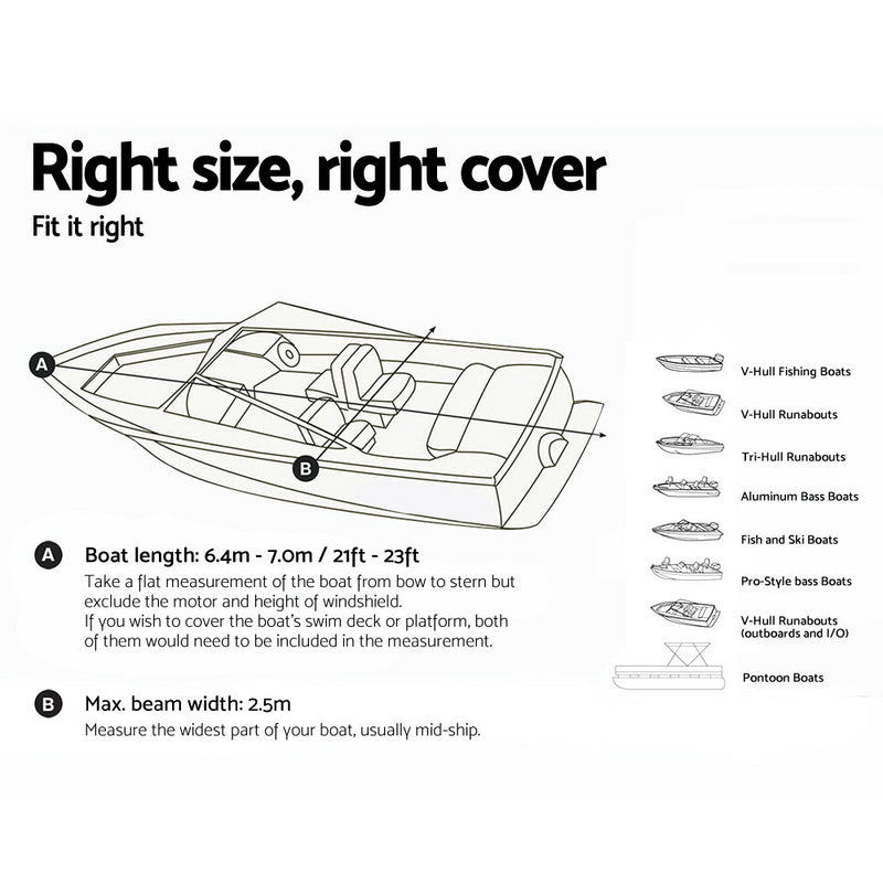 Seamanship 21 - 23ft Waterproof Boat Cover - Factory Direct Oz