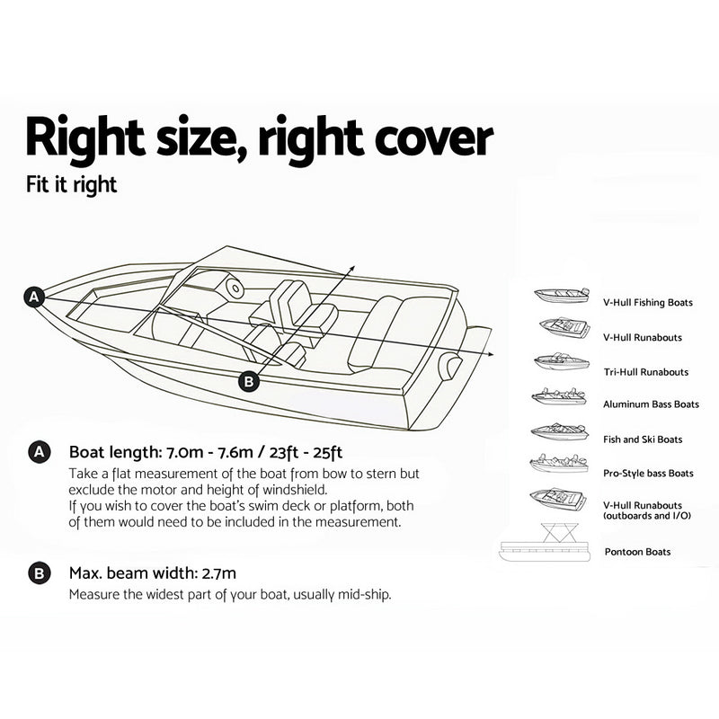 Seamanship 23 - 25ft Waterproof Boat Cover - Factory Direct Oz