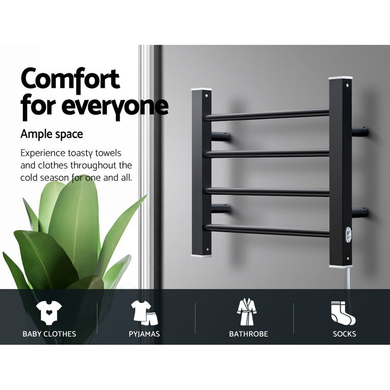 DEVANTI 4 Rack Electric Heated Towel Rails - Black Round Bars - Factory Direct Oz