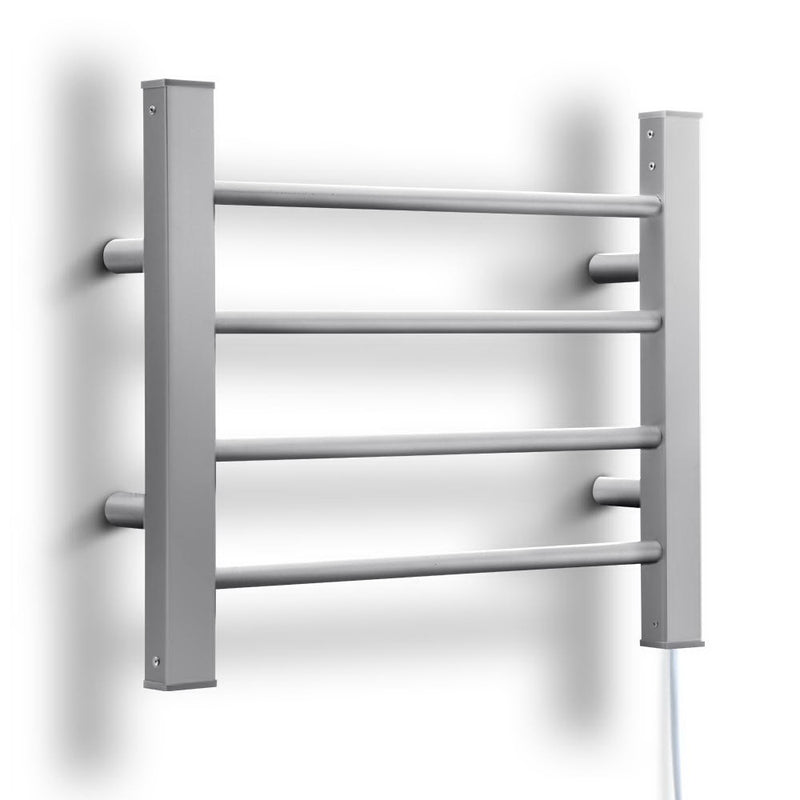 DEVANTI 4 Rack Electric Heated Towel Rail - Aluminium Round Bars - Factory Direct Oz