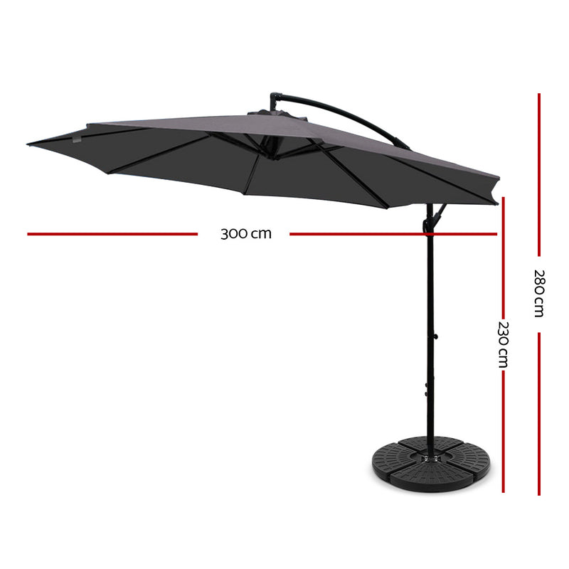 Instahut 3M Umbrella with 48x48cm Base - Charcoal - Factory Direct Oz