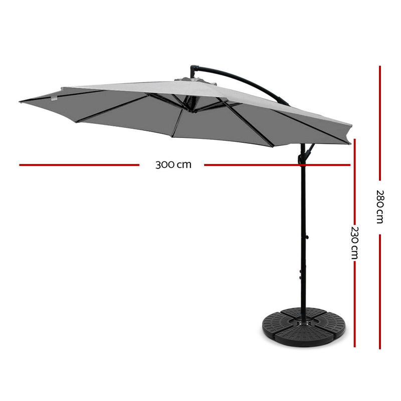 Instahut 3M Umbrella with 48x48cm Base - Grey - Factory Direct Oz