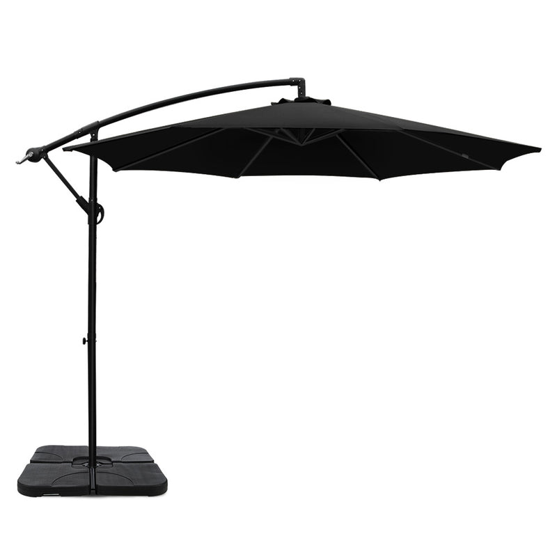 Instahut 3M Umbrella with 50x50cm Base - Black - Factory Direct Oz