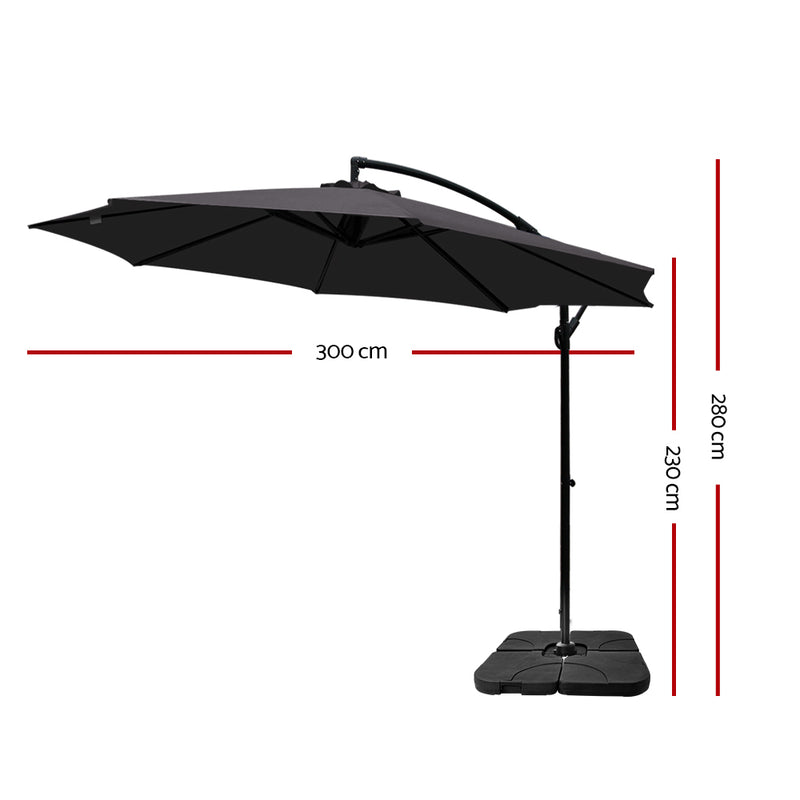 Instahut 3M Umbrella with 50x50cm Base - Charcoal - Factory Direct Oz