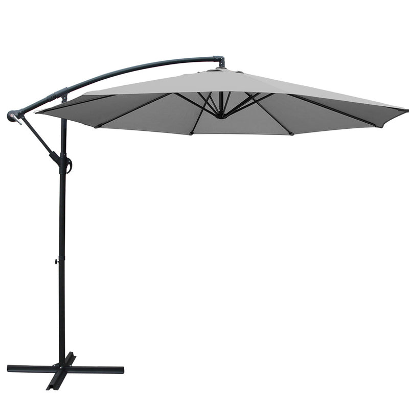 Instahut 3M Outdoor Garden Umbrella - Grey - Factory Direct Oz