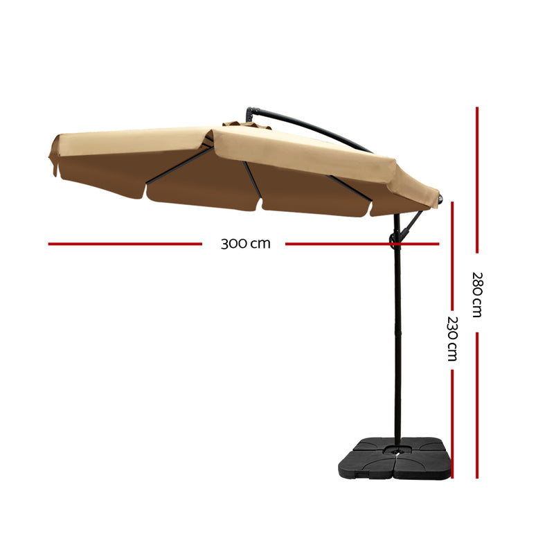 Instahut 3M Umbrella with 50x50cm Base - Beige - Factory Direct Oz