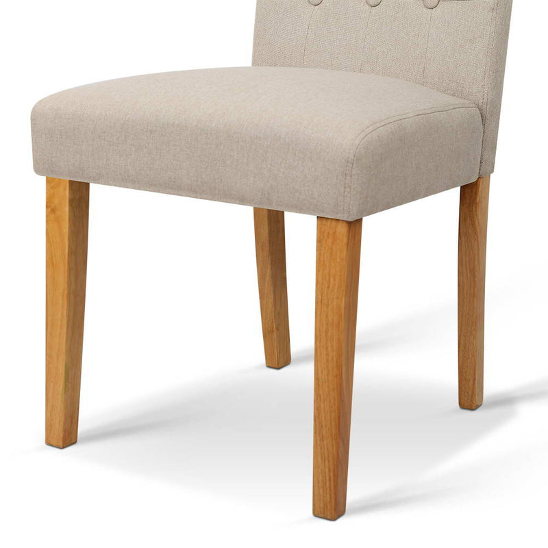 Artiss Set of 2 Fabric Dining Chair - Beige - Factory Direct Oz