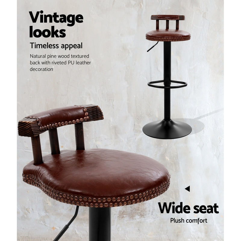Artiss 2x Gas Lift Vintage Kitchen Bar Stool - Brown Leather - Factory Direct Oz
