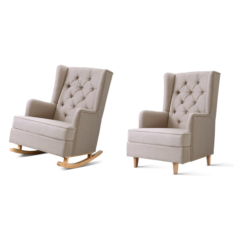 Artiss Rocking/Feeding Armchair - Beige - Factory Direct Oz