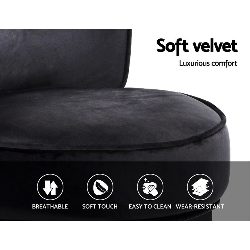 Artiss Velvet Vanity Stool - Black - Factory Direct Oz