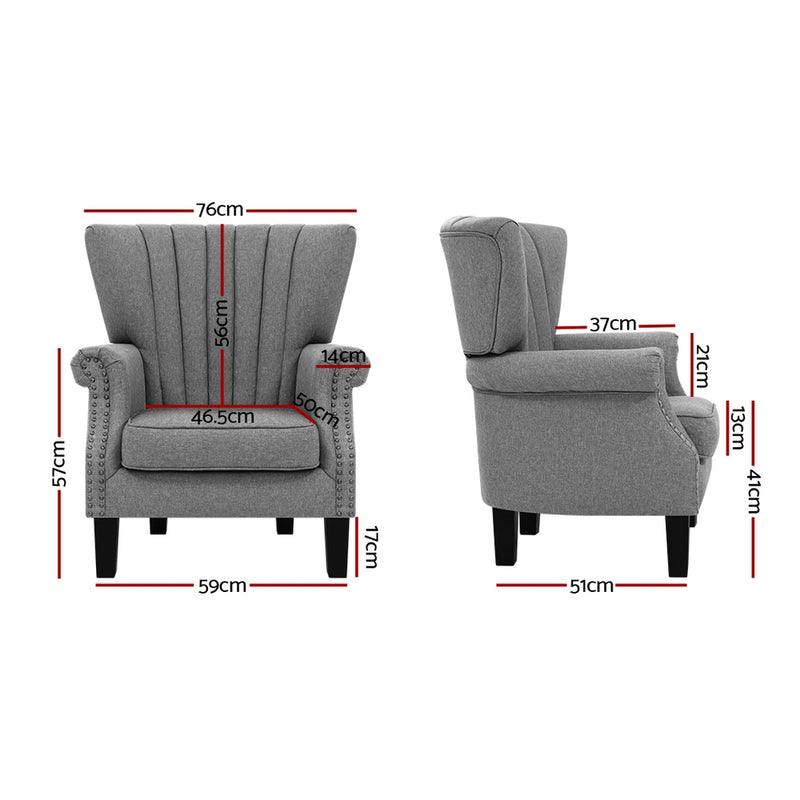 Artiss Upholstered Fabric Armchair - Grey - Factory Direct Oz