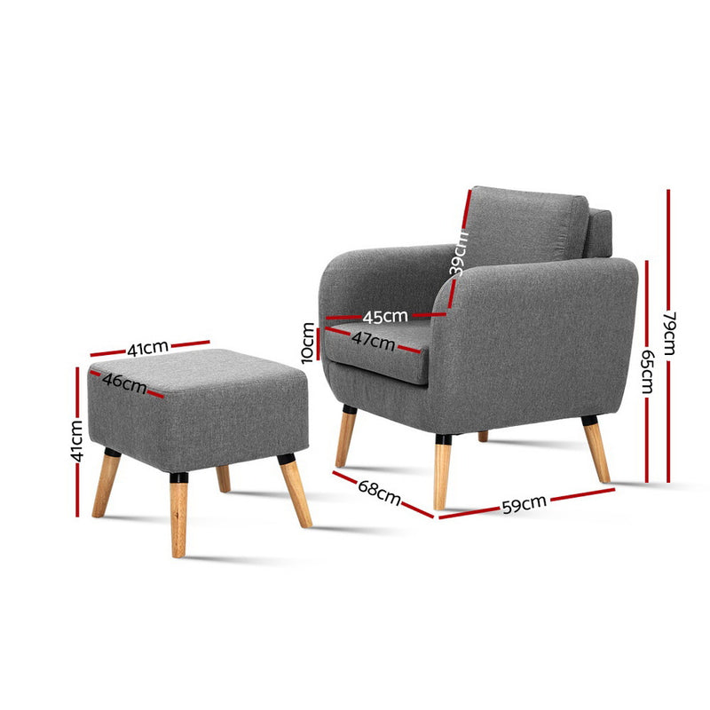 Artiss Lounge Chair - Grey - Factory Direct Oz