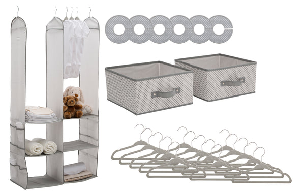 24 Piece Nursery Storage Set - Cool Grey - Factory Direct Oz
