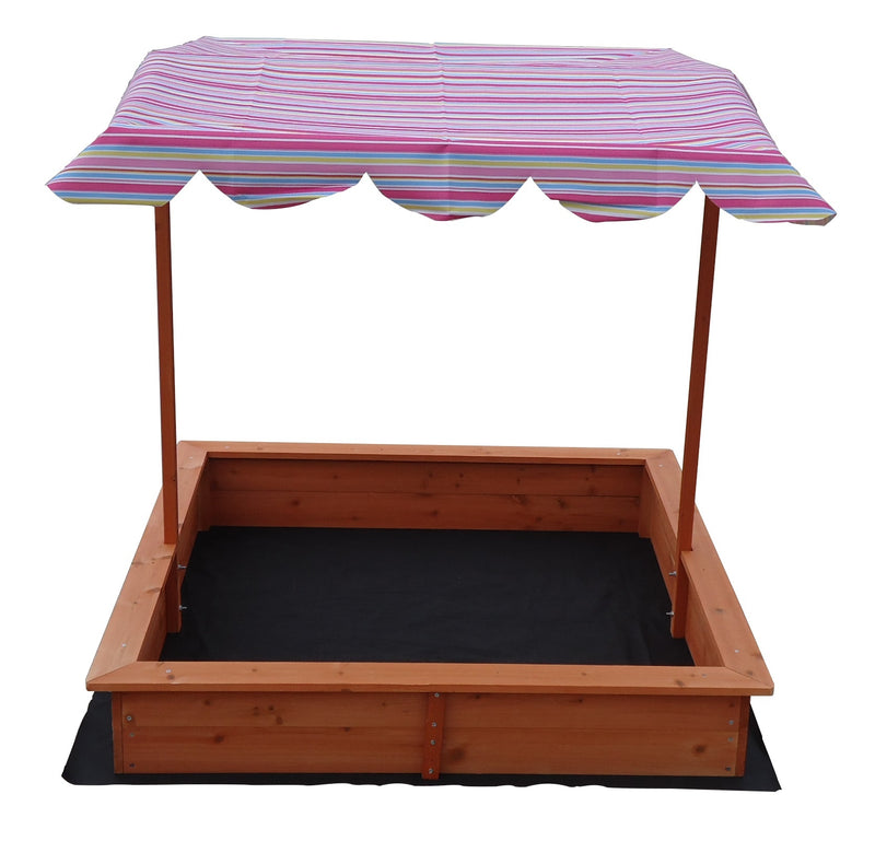 Wooden Sandpit with Adjustable Canopy - Factory Direct Oz