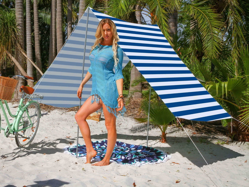 Good Vibes Summer Beach Tent - Navy Stripe - Factory Direct Oz