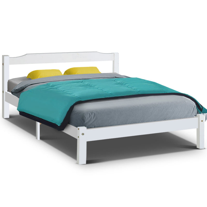 Double Wooden Bed Frame - White - Factory Direct Oz